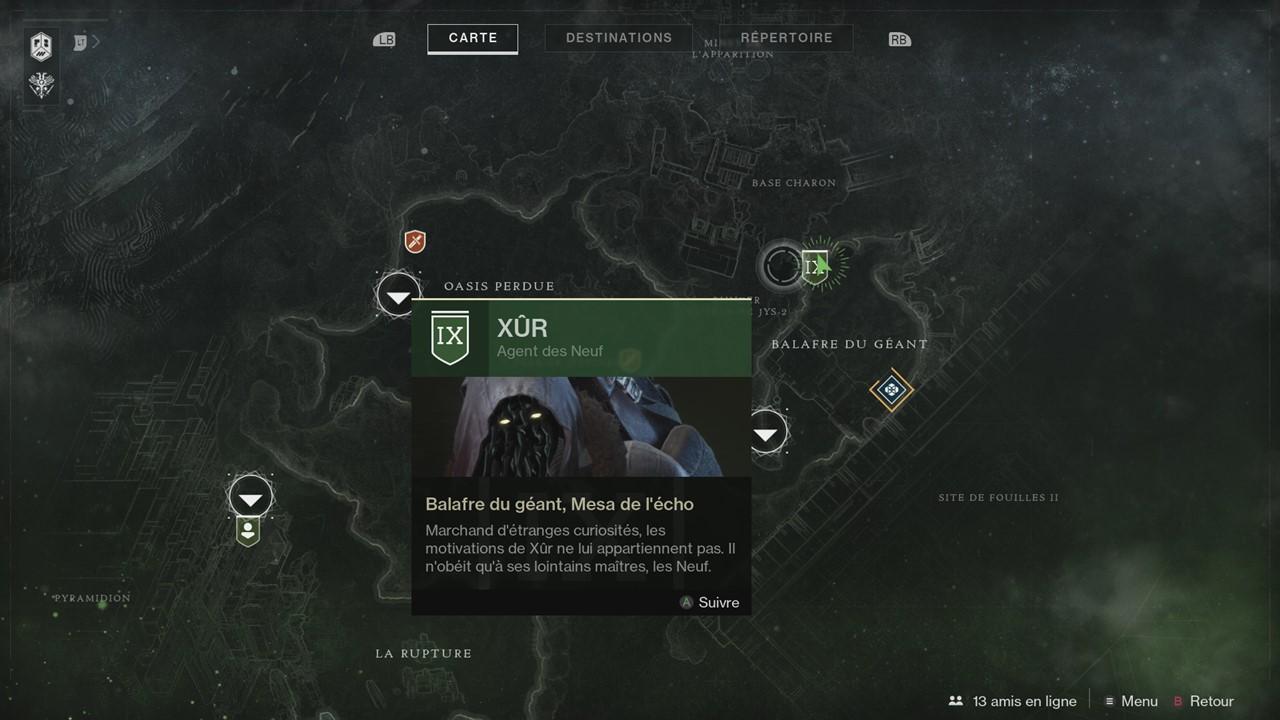 Destiny 2 : Xûr et ses objets exotiques de la semaine