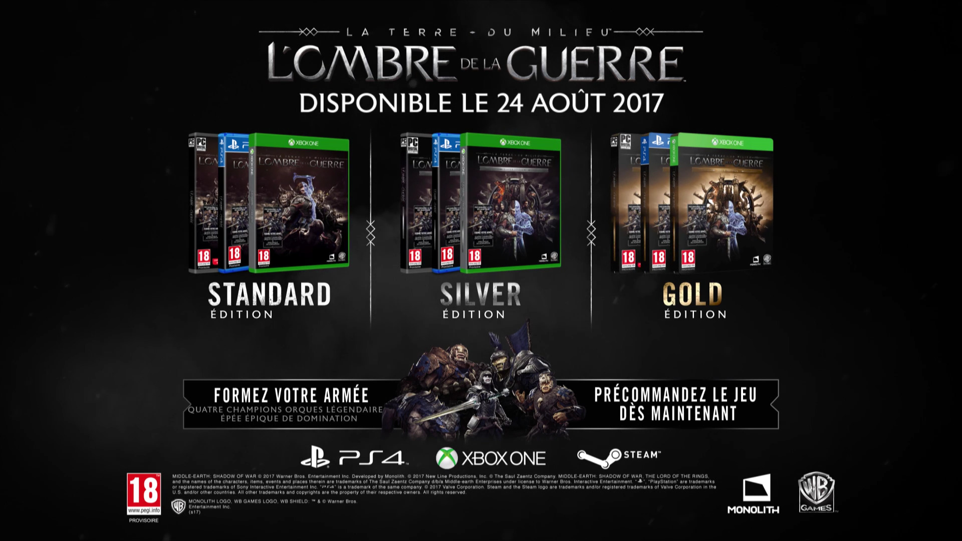 la terre du milieu l ombre de la guerre d voil dans un trailer et optimis xbox scorpio. Black Bedroom Furniture Sets. Home Design Ideas