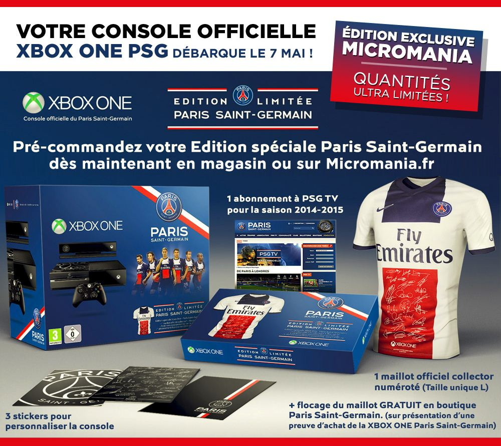 xbox one psg edition limit e le 7 mai chez micromania. Black Bedroom Furniture Sets. Home Design Ideas
