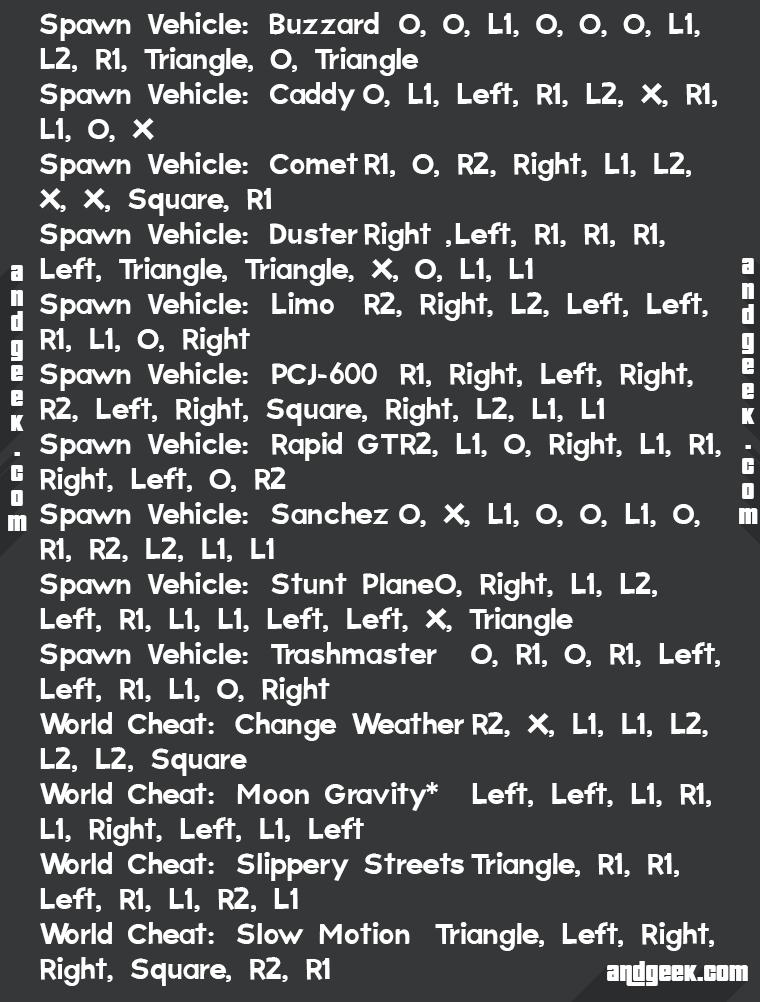 Code de triche gta 5 moto ps4