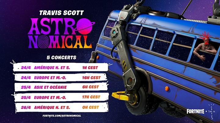 Fortnite - Concert Travis Scott, Défi Astronomical, Dates et Horaires